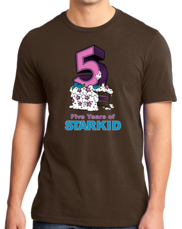 StarKid 5-Year Anniversary Cupcake T-shirt Standard Brown Stock Model Front 1 Thumb