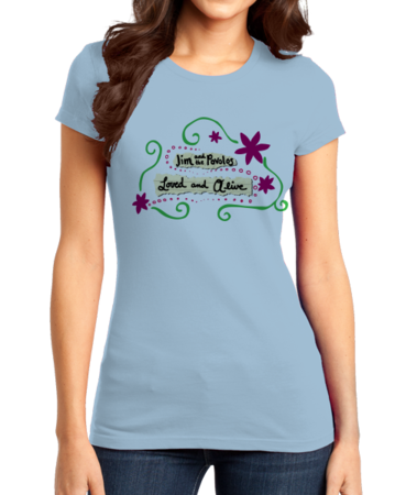 """Jim and the Povolos """"Loved and Alive"""" T-shirt Girly Light blue Stock Model Front 1 Thumb Front"""