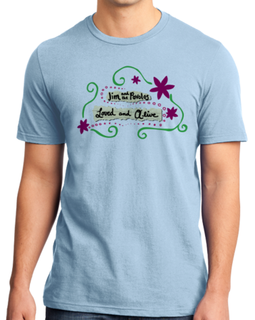 """Jim and the Povolos """"Loved and Alive"""" T-shirt Standard Light blue Stock Model Front 1 Thumb Front"""