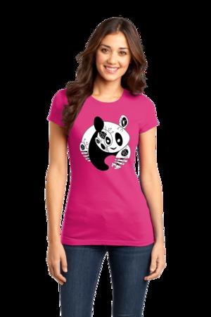 Joe Moses Panda Logo Tee Girly Hot Pink Stock Model Front 1 Front