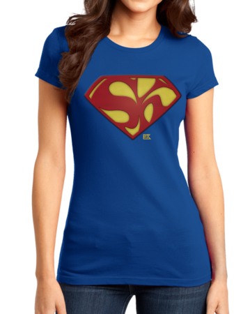 Starkid Holy Musical, B@man! Superman Logo Girly Royal Stock Model Front 1 Thumb