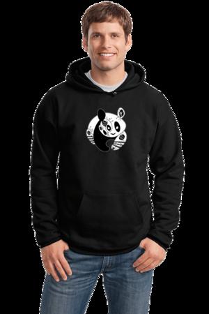 Joe Moses Panda Pullover Hoodie Pullover Hoodie Black Stock Model Front 1 Front