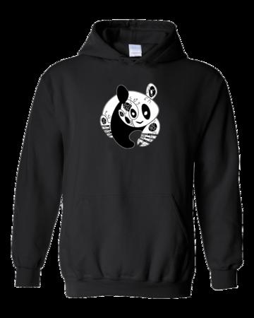 Joe Moses Panda Pullover Hoodie Pullover Hoodie Black Blank with Depth Front