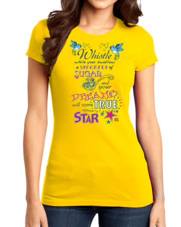 StarKid Twisted Spoonful Lyrics Tee Girly Yellow Stock Model Front 1 Thumb