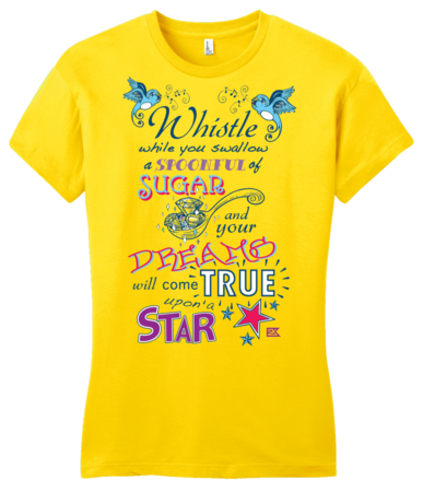 StarKid Twisted Spoonful Lyrics Tee Girly Yellow Blank with Depth