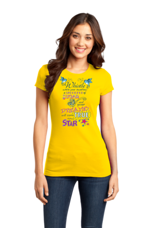 StarKid Twisted Spoonful Lyrics Tee Girly Yellow Stock Model Front 1