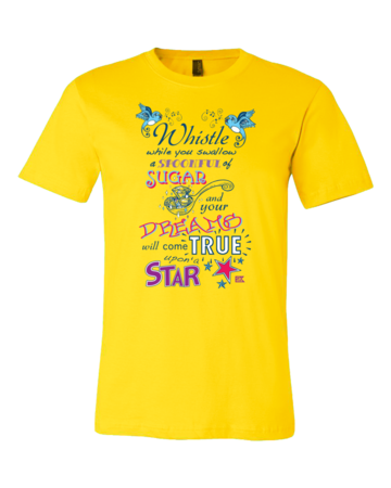 StarKid Twisted Spoonful Lyrics Tee Standard Yellow Blank with Depth