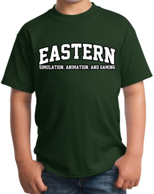 Eastern Simulation, Animation, & Gaming Arched, Black Outline Design T-shirt