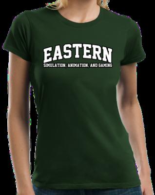 Eastern Simulation, Animation, & Gaming Arched, Black Outline Design T-shirt