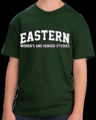Eastern Women's & Gender Studies Arched, Black Outline Design T-shirt