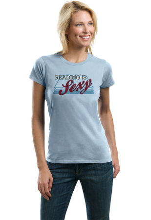 Reading is Sexy | Smart People Pick-Up Line Ladies Light blue Stock Model Front 2