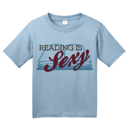 Reading is Sexy | Smart People Pick-Up Line Youth Light blue Blank with Depth