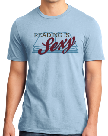 Reading is Sexy | Smart People Pick-Up Line Unisex Light blue Stock Model Front 3 Thumb
