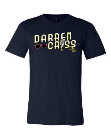 Darren Criss Microphone T-shirt Standard Navy Blank with Depth Front