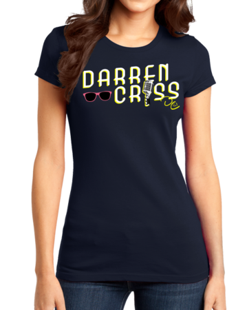 Darren Criss Microphone T-shirt Girly Navy Stock Model Front 1 Thumb Front