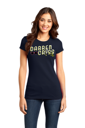 Darren Criss Microphone T-shirt Girly Navy Stock Model Front 1 Front