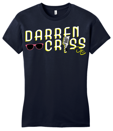 Darren Criss Microphone T-shirt Girly Navy Blank with Depth Front