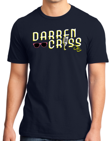 Darren Criss Microphone T-shirt Standard Navy Stock Model Front 1 Thumb Front