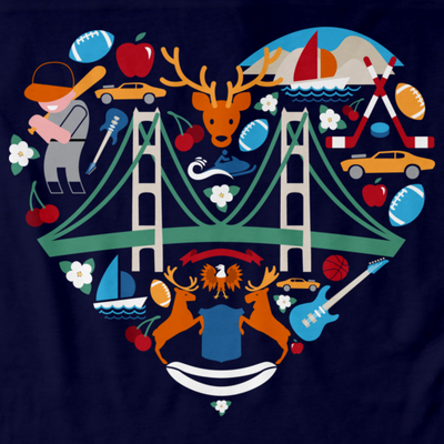Michigan Icon Heart - Michigan Love Pride Heritage Culture Cute T-shirt
