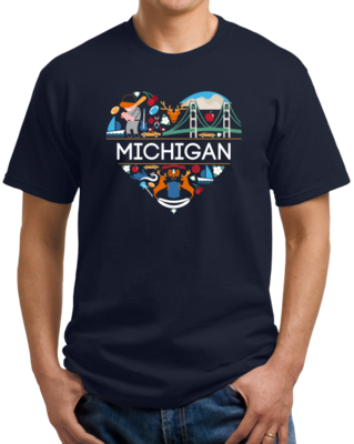 Michigan Love - Michigan Pride Mitten State Detroit Motown Cute T-shirt