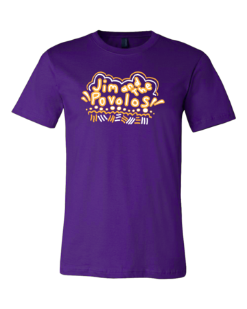 Jim and the Povolos Squiggly Name Tee Standard Purple Blank with Depth Front