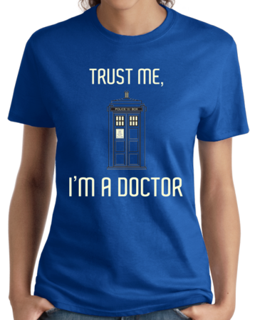 TRUST ME I'M A DOCTOR Ladies Royal Blue Stock Model Front 4 Thumb Front