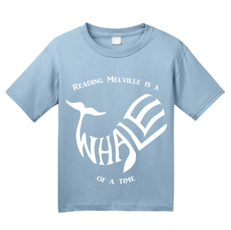 READING MELVILLE IS A WHALE OF A TIME Youth Light blue Blank with Depth Front