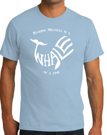 READING MELVILLE IS A WHALE OF A TIME Unisex Light blue Stock Model Front 4 Thumb Front