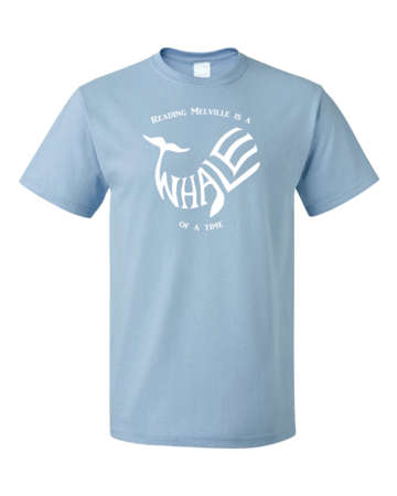 READING MELVILLE IS A WHALE OF A TIME Unisex Light blue Blank with Depth Front