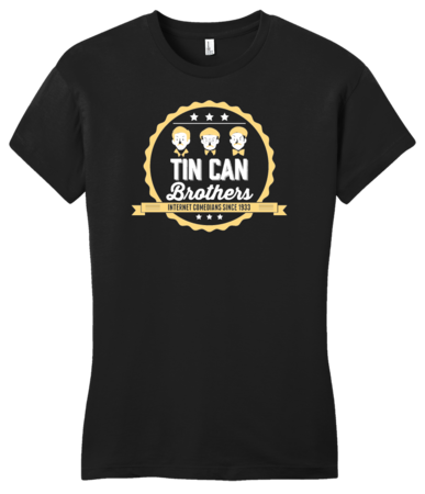 Tin Can Brothers T-shirt Girly Black Blank with Depth