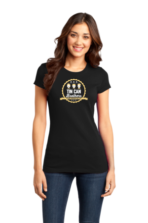 Tin Can Brothers T-shirt Girly Black Stock Model Front 1