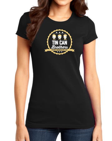 Tin Can Brothers T-shirt Girly Black Stock Model Front 1 Thumb