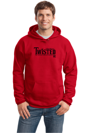 StarKid Twisted Logo Pullover Hoodie Pullover Hoodie Red Stock Model Front 1 Front
