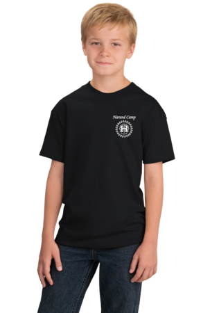 Harand Theatre Camp - Music Staff White Print Youth Black Stock Model Front 1
