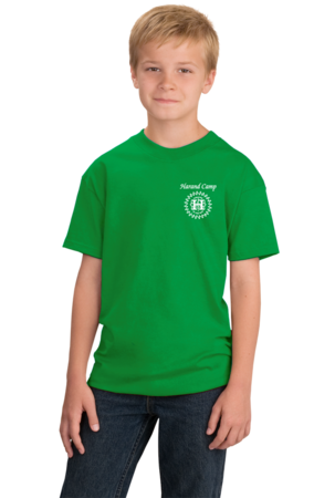 Harand Theatre Camp - Music Staff White Print Youth Green Stock Model Front 1