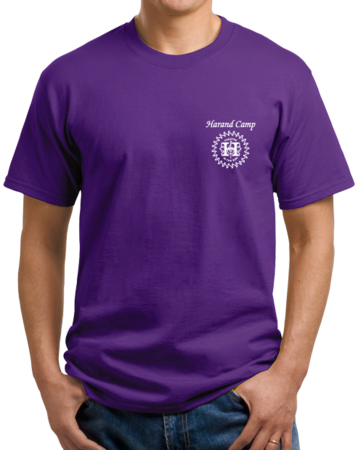 Harand Theatre Camp - Music Staff White Print Unisex Purple Stock Model Front 1 Thumb