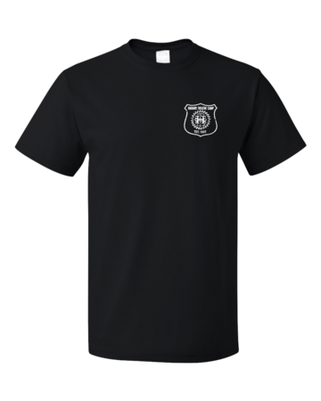 Harand Theatre Camp - Left Chest White Shield Logo Unisex Black Blank with Depth