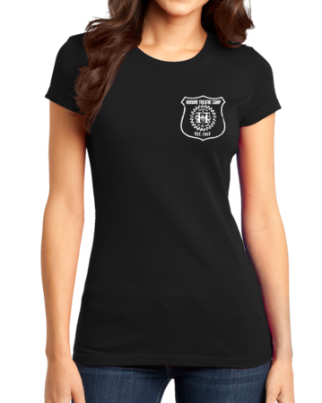 Harand Theatre Camp - Left Chest White Shield Logo Girly Black Stock Model Front 1 Thumb