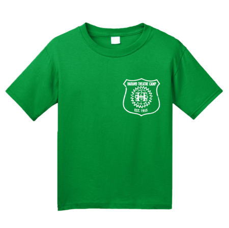 Harand Theatre Camp - Left Chest White Shield Logo Youth Green Blank with Depth