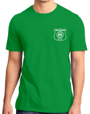 Harand Theatre Camp - Left Chest White Shield Logo Standard Green Stock Model Front 1 Thumb