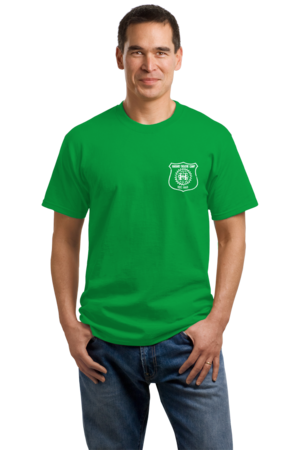 Harand Theatre Camp - Left Chest White Shield Logo Unisex Green Stock Model Front 1