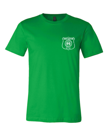 Harand Theatre Camp - Left Chest White Shield Logo Standard Green Blank with Depth