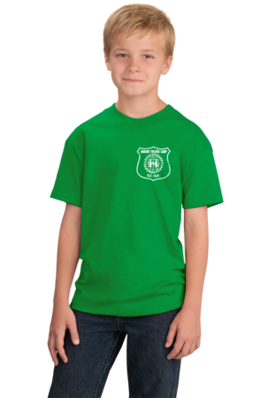 Harand Theatre Camp - Left Chest White Shield Logo Youth Green Stock Model Front 1