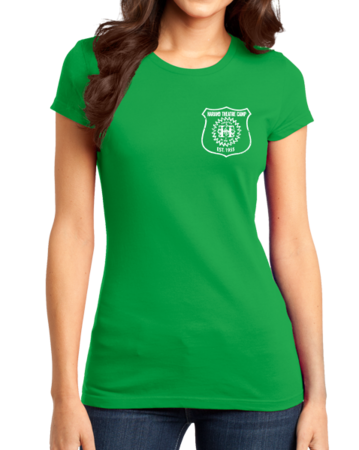 Harand Theatre Camp - Left Chest White Shield Logo Girly Green Stock Model Front 1 Thumb