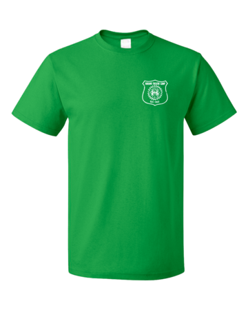 Harand Theatre Camp - Left Chest White Shield Logo Unisex Green Blank with Depth