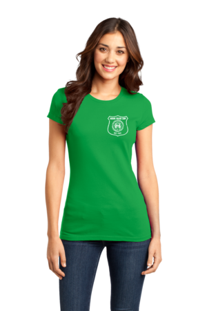 Harand Theatre Camp - Left Chest White Shield Logo Girly Green Stock Model Front 1