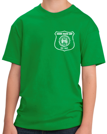 Harand Theatre Camp - Left Chest White Shield Logo Youth Green Stock Model Front 1 Thumb