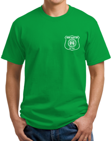 Harand Theatre Camp - Left Chest White Shield Logo Unisex Green Stock Model Front 1 Thumb