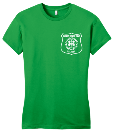 Harand Theatre Camp - Left Chest White Shield Logo Girly Green Blank with Depth