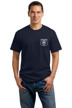 Harand Theatre Camp - Left Chest White Shield Logo Unisex Navy Stock Model Front 1